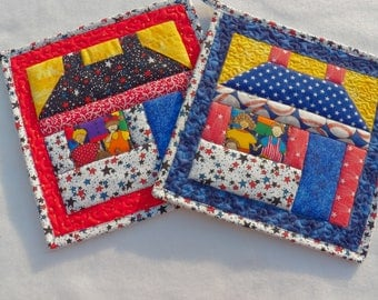 "Two Quilted Reversible Pot Holders, 10"" square, Insulated Pot Holders, House Pot Holders, Quilted Mug Rugs, Quilted Hot Pad, Small Placemat"