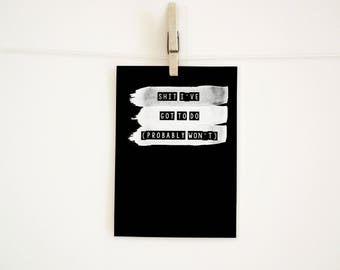 SWEARY NOTEBOOK / Sh*t I've Got to Do (Probably Won't) / Funny Rude Notepad / Office Gift