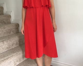Vintage 1970s Red Strapless Summer Dress