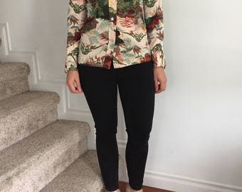 1970s Boho Button Down Shirt with Green & Maroon Foliage Print