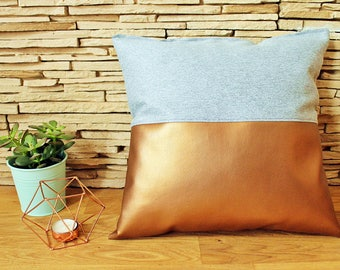 Handmade decorative pillow - copper | grey - fake leather | cotton - clean modern style