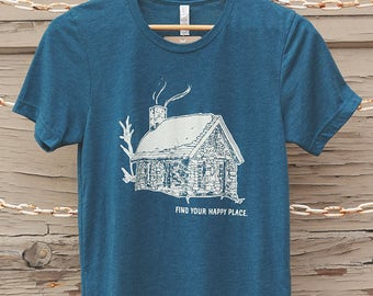 Find Your Happy Place Heather Blue T-shirt