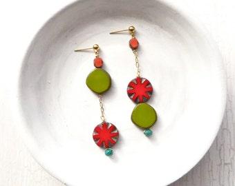 Asymmetrical Earrings / Statement Earrings / Boho Earrings / Stud Earrings / Beaded Dangle Earrings / Gifts for Her / Gifts for Girlfriends