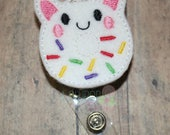 Unicorn Donut Felt Badge Reel, Unicorn Badge Reel, Felt Badge Reel, Work ID Badge, Retractable ID Badge, ID Holder, Badge Reel, id badge