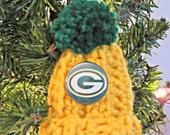 Green Bay Packer Ornament Hat Green and Gold Football Pin Tree Topper Bottle Topper Handmade