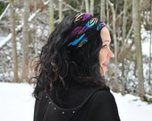 Festival Headband - Womens Headband - Dreadlocks Headband -Boho Headband - Hippie Headband- Rainbow Headband  - Women Hair Wrap - Dread Wrap
