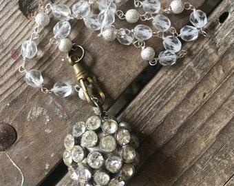 Ice Queen Vintage Necklace Repurpose White Rhinestones SIiver Bridal