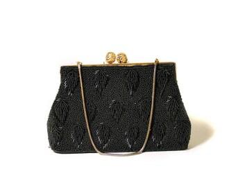 60s Black Beaded Evening Bag, Black Sequin Purse, Beaded Black Handbag, Black Beaded Clutch, 1960s Beaded Bag, Beaded Opera Bag