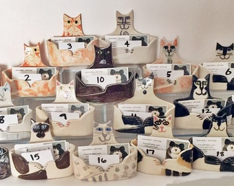 Cat Lover  Business card Holder ceramic Handmade unique whimsical choose a cat - Ready to Ship