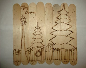 Merry Christmas Wood Burned Winter Snow Scene Popsicle Stick Art Rustic Hand Drawn Original Art Can Frame or Stand Unisex Party Favor