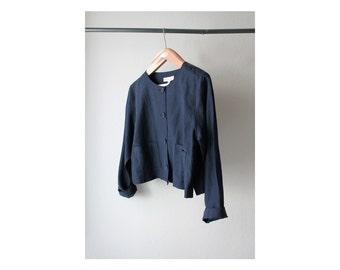 1990's Karen Kane Navy Button Down Cropped Top