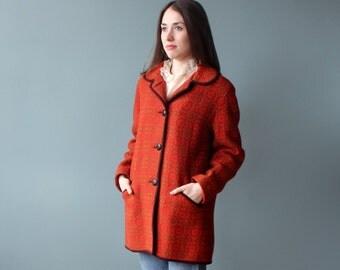 vintage brocade  coat | red gold wool coat | 1960s small - medium