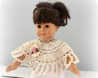 Crochet Poncho for 18 Inch Doll, Hair Decoration, made from Vintage Beige Crochet