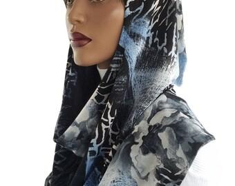 Koul SHôl™ Head Hoodie Black Blue Stretch Mesh Knit Cowl Hoodie Fully Lined Veil Devotional Head Hoodie Veil Hoodie Hijab Hoodie Handmade