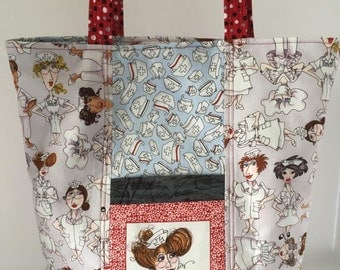 Nurse Tote with Loralie Fabric Reversible
