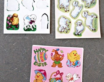 Vintage Stickers, Easter Stickers, Vintage Holiday, Lamb Stickers, Chickens and Eggs, Easter Basket Stickers, Bunny Stickers, Vintage Easter