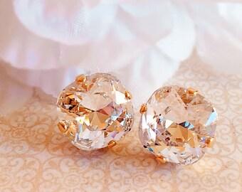 White Diamond Stud Earrings - Swarovski - Crystal Earrings - Classic Earrings -  JOLIE Crystal