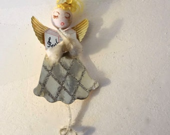 Vintage Paper Angel Ornament Singing Noel Blonde Hair 4.5 Inches long X 2 Inches Wide