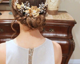 Bridal hair vine, Gold hair vine, Wedding headpiece, Bridal hair comb, Crystal hair comb, Hair accessories, Leaf hair vine, Pearl comb