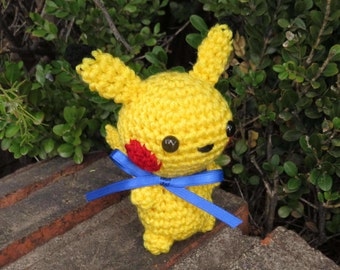 READY TO SHIP - Crochet - Chibi Pokemon Amigurumi - Pikachu (Bipedal or Quadruped). Geek Gift. Gamer Gift. Teen Gift. Anime Gift. Cosplay.