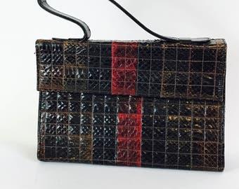 Vintage 1960s Snake Skin Handbag Oxblood Red Brown Square Reptile Patchwork Leather Top Handle Pocketbook 60s Mad Men Era Purse