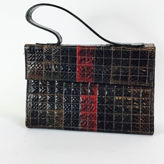 Vintage 1960s Snake Skin Handbag Oxblood Red Brown Square Reptile Patchwork Leather Top Handle Pocketbook 60s Mad Men Era Purse