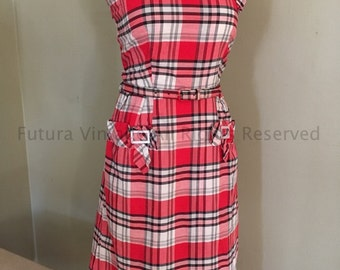 Adorable 1950s KAY WHITNEY Red and White Plaid Cotton  Sundress with Buckle Adornment and Matching Belt-S