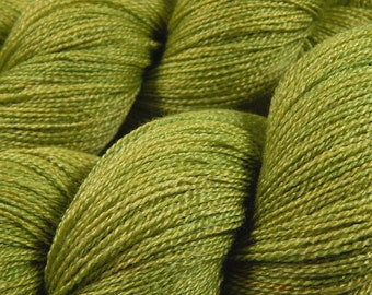 Hand Dyed Yarn - Lace Weight Superwash BFL Wool Silk Yarn - Lettuce Tonal - Luxury Knitting Yarn, Lace Yarn, Green Indie Dyed Yarn