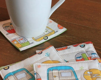 Vintage Trailer Quilted Coasters Set of 4 - FREE shipping in US