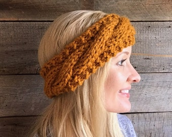 Knit Headband Knitted Head Band Cable Headband Ear Warmer Cabled Knit Chunky Knit Accessory Gift for Her Cable Knit Head Band Yellow Fashion