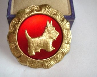 Terrier Dog Brooch Red Tone