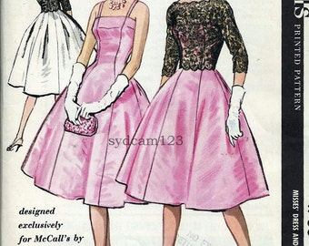 Vintage Sewing Pattern 1950s Sybil Connolly Princess Party Cocktail Dress Back Button Scalloped Lace Jacket 1958 McCalls 4730 Bust 32 UNCUT