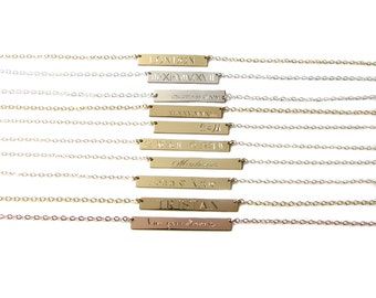 Engraved Bar Necklace, Name Plate Necklace, 14kt gold filled, 14KT Rose Gold Filled or Sterling Silver