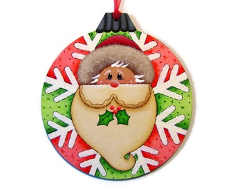 Santa Ornament Shaped Wall Hanging, Handpainted Wood, Hand Painted Christmas Wall Art, Tole Decorative Painting, B6