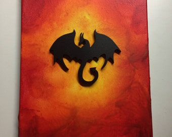Dragon Raised Silhouette, Melted Crayon Art Painting