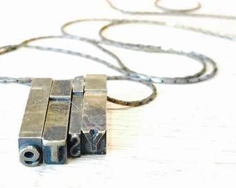 Vintage Letterpress Necklace - Brass WORD already made or personalized up to 4 letters