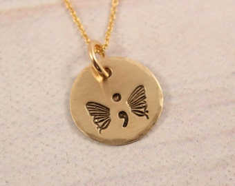 Hand Stamped Butterfly Necklace - Brass with Gold Filled Chain