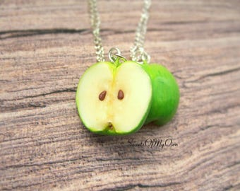Apple Necklace - Green Apple Halves - Best Friend Necklaces - Summer Fruit Jewellery - Handmade in the UK with Polymer Clay