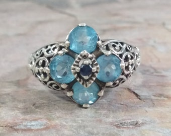 Vintage Antique Style Ring Size 8.5 Sterling Silver Marcasites Blue Faceted Glass Gemstones Ladies Ring Shadow Box Cutouts Dazzling Delight