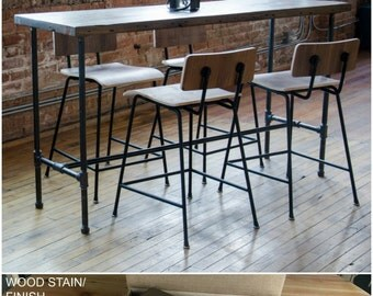 Reclamed Wood Counter Height Bistro Table, Bar Height Table made with reclaimed wood and iron pipe legs.