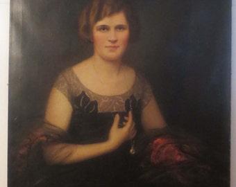 Vintage LARGE Art DECO Oil Portrait Painting Woman Bobbed hairdo Pearl Necklace by Carl KAHLER 1920s