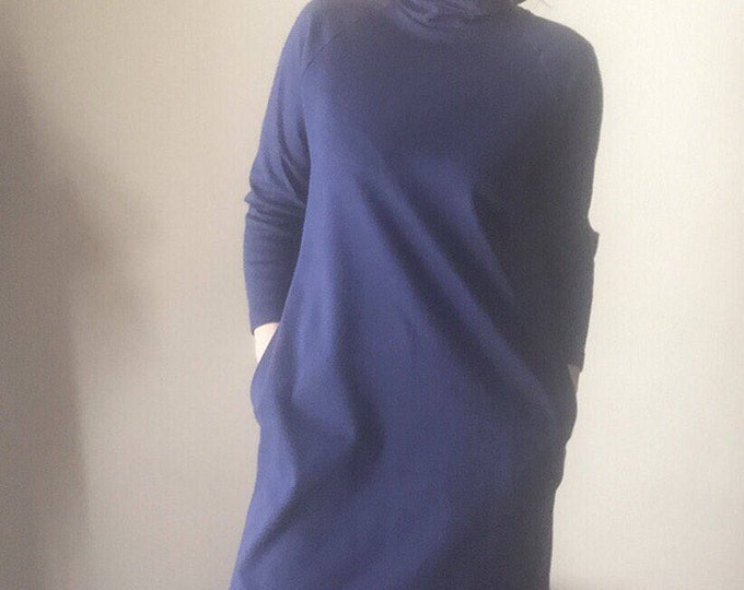 M/L vintage LL Bean women turtle neck dress with pockets medium large cotton midi maxi long shift minimalist