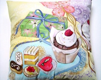 Sweet Treats Pillow Hand Painted Original Art 14x14 Party Pillow Birthday Valentines Showers Cottage Charm Unique Decorative Sweet Gift