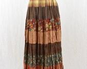 Vintage Flannel Maxi Skirt, Mixed Print, Grunge, 90's Clothing, Size XS-Medium, Broomstick Skirt, Tumblr Clothing, Mori Girl, Hippie Skirt