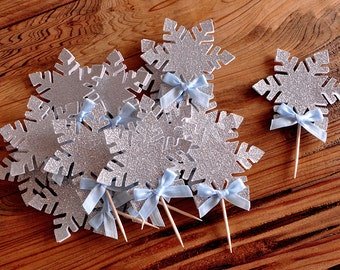 Snowflake Cupcake Toppers 12CT.  Handcrafted in 2-3 Business Days.  Frozen Party Cupcake Toppers.