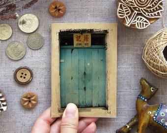 Travel Journal Turquoise Door Notebook 01. Mini Travel Size Journal - Turquoise Blue Textured Shop Front -  Inspirations in your Pocket