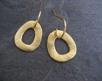 Simple earrings, everyday earrings, odd shape, triangular, gold dangle, textured earrings, handmade earrings, casual earrings