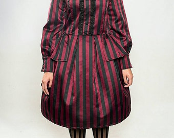SALE: Steampunk Lolita Dress , Gothic Black and Red Strippes Dress.