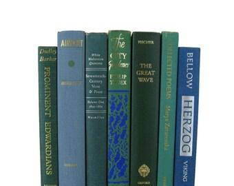 Ocean Vintage Books , Blue Green Books , Books , Decorative Books ,  Wedding Decor ,  Photo Prop , Instant Library , Shabby Chic Wedding