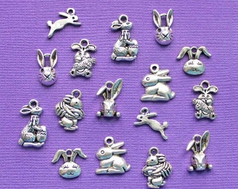 Easter Bunny Charm Collection Antique Silver Tone 16 Charms - COL287